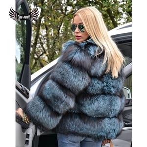 Image 2 - BFFUR כתרים אישה חורף 2020 אופנה מעילי עור אמיתי חדש בתוספת גודל בגדים מלא פלט אמיתי טבעי פרווה כחול שועל מעיל