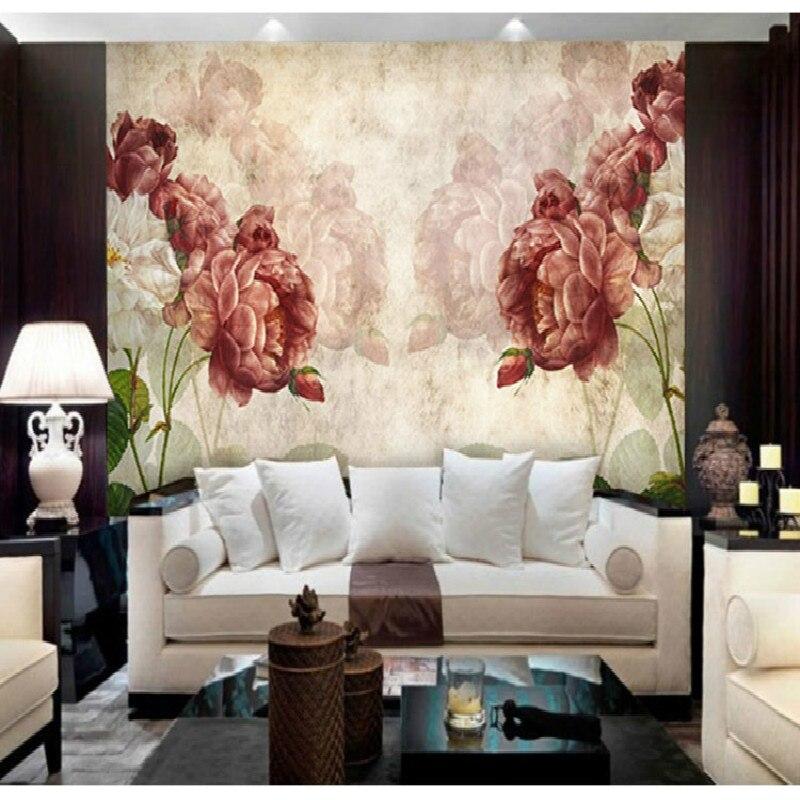 Retro nostalgia roses TV sofa background 3D wallpaper for living room bedroom 3d wallpapers murals