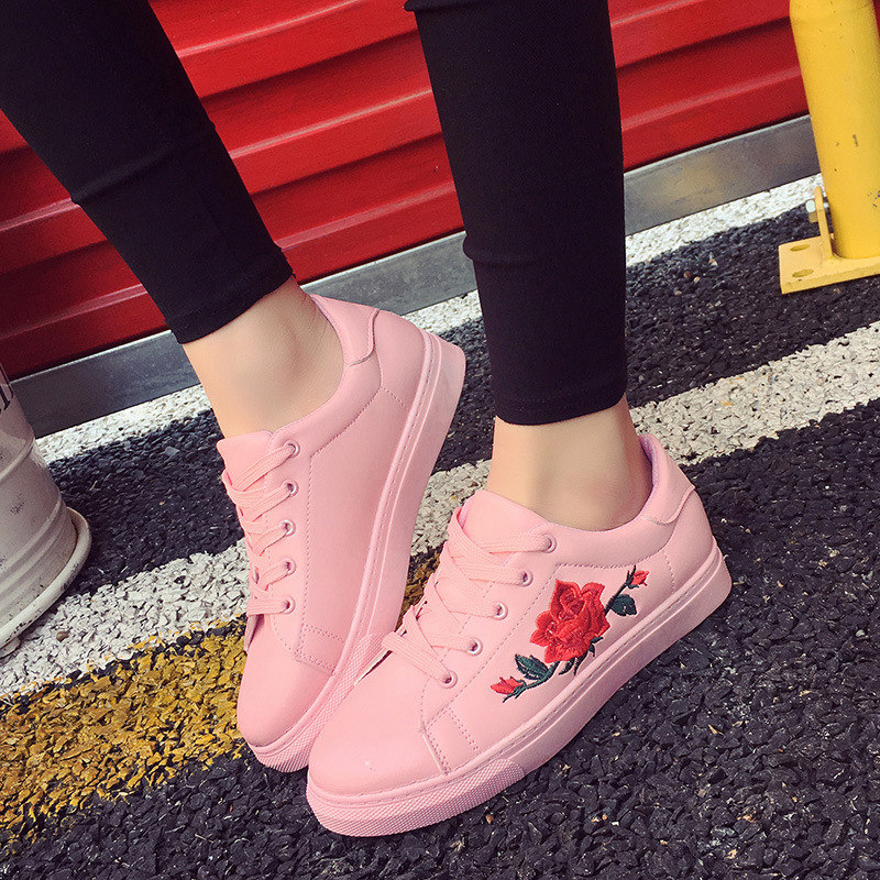 Spring Women Casual Shoes Sneakers Fashion Breathable PU Leather Embroider White Soft Footwears