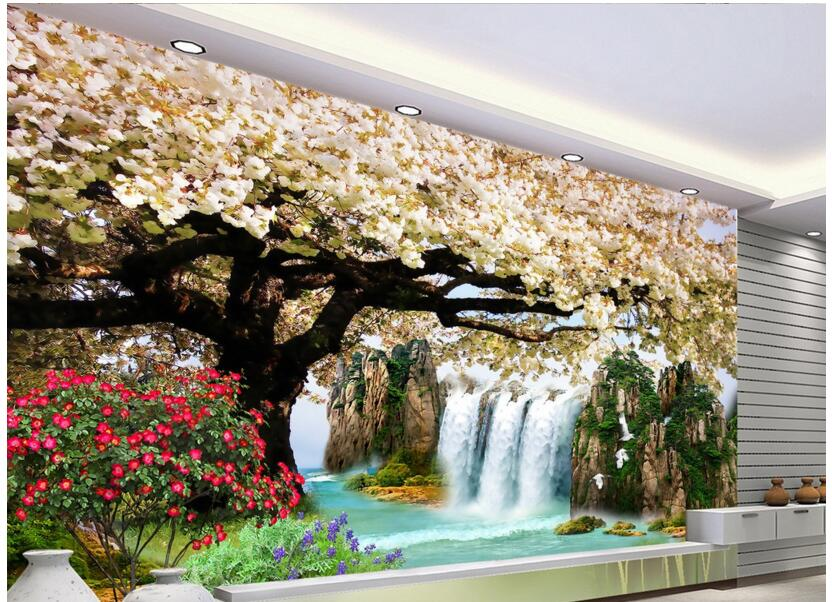 Custom photo 3d wallpaper Non-woven mural wall sticker waterfall cherry blossom painting picture 3d wall room murals wallpaper custom photo 3d wallpaper non woven mural wall sticker british architecture painting picture 3d wall room murals wallpaper
