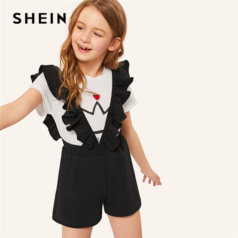 SHEIN Kiddie Black Solid Elastic Waist Girls Shorts With Ruffle Strap Teenager Bottoms 2019 Summer Straight Leg Cute Kids Shorts striped wide leg shorts