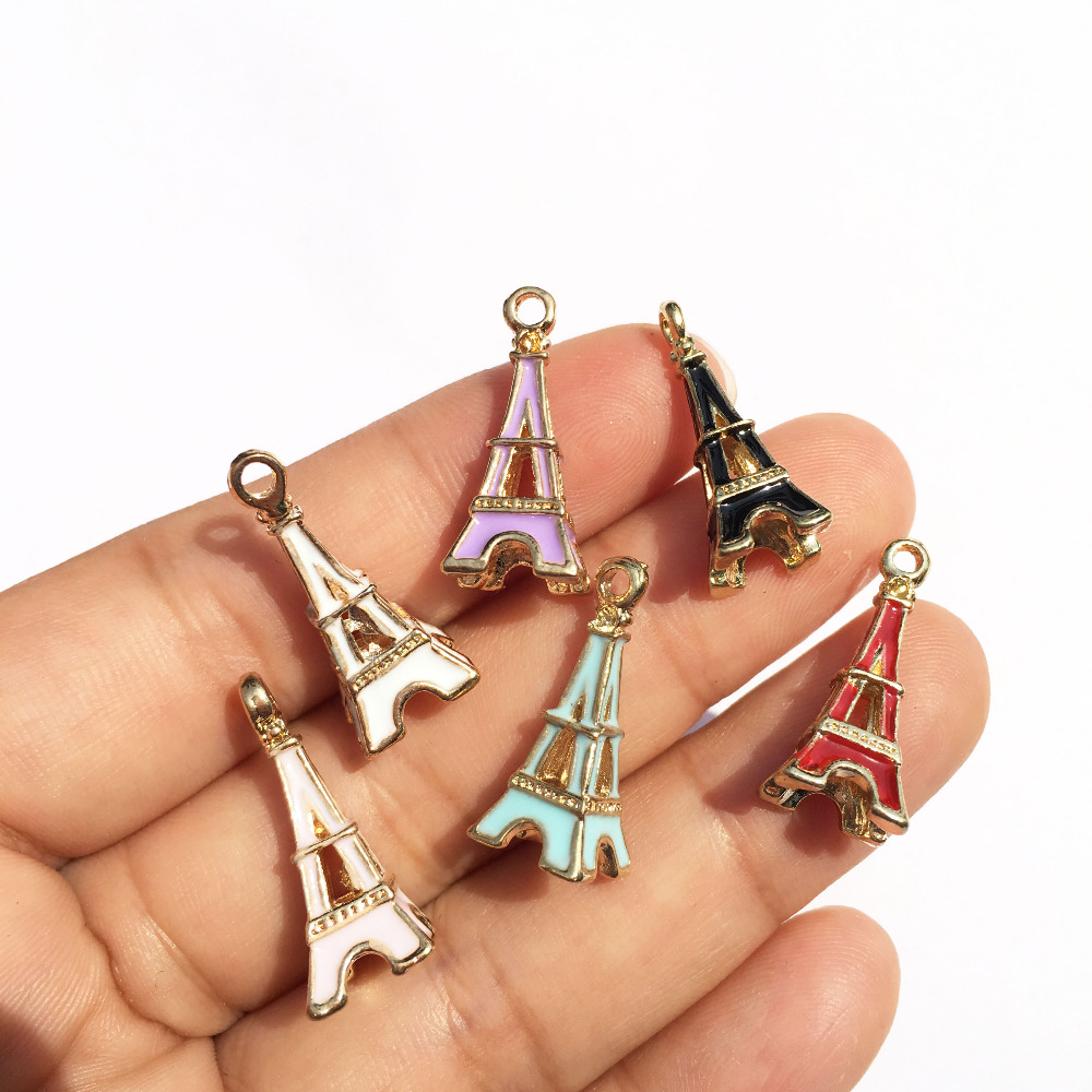 Mini Order 20PCS Mixed Color Oil Drop Enamel Gold Tone Plated Eiffel Tower Shape Jewelry Charms for DIY Necklaece Bracelet
