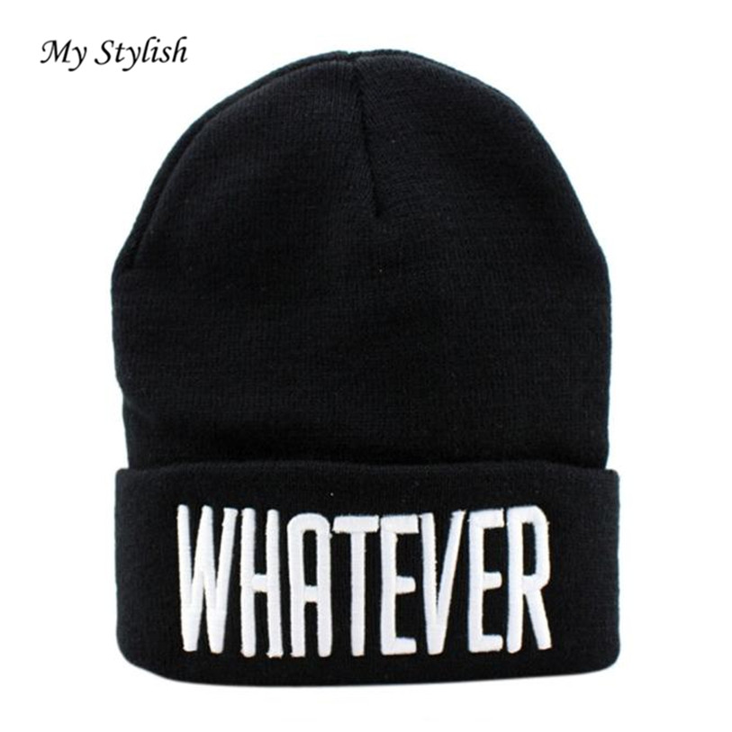Hot Sale 2017 New Fashion Winter Black Whatever Beanie Hat And Snapback Men And Women Cap Black High Quality Dec 22 rwby letter hot sale wool beanie female winter hat men