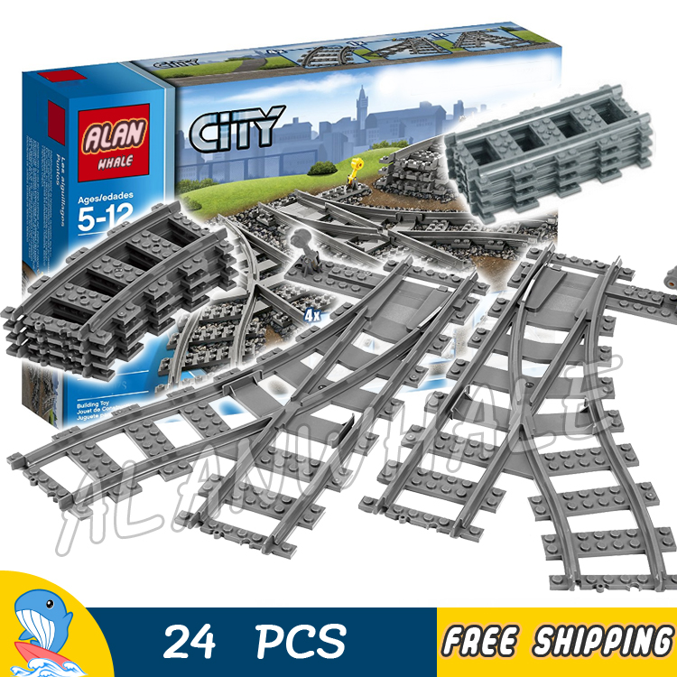 City Trains Flexible Tracks and Switch Track Set Model Building Blocks Bricks Curved Rails Kit Toys Compatible With lego power trains набор с краном 48627