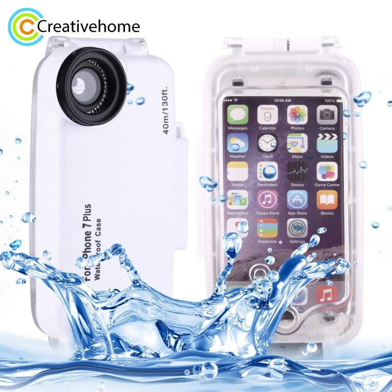 Voor iPhone 8 Plus Case Water Proof Onderwater 40m Waterdichte Duiken Behuizing PC + ABS Beschermhoes Voor iPhone 6s Plus 7 Coque
