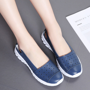Image 4 - STQ 2020 Autumn Women Flat Shoes Genuine Leather Cutout Ballet Flats Shoes Flats Ladies Slip On Loafers Nurse Boat Shoes 7731