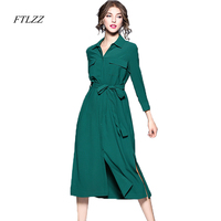 FTLZZ Autumn Winter New Elegant Dress Women Fashion Turn Down Collar Shirt Split Ends Temperament Slim