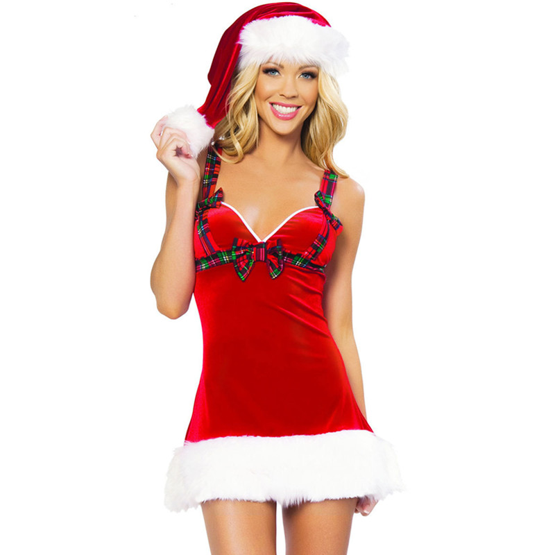Fashion Sex Female Christmas Costumes Cosplay Women Dress Sexy Red Santa Claus For Adults Christmas Dresses For Adult In Holidays Costumes From Novelty