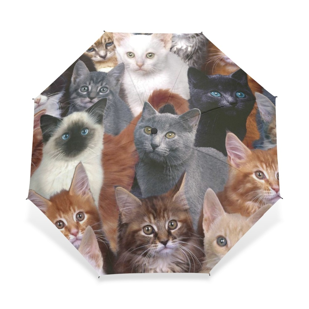 Hot Folding Women's Paraply Pongee Anti-UV Cat Family Print Solbriller og regn paraplyer Kvinne Regn parasoll kvinnelig antiveter