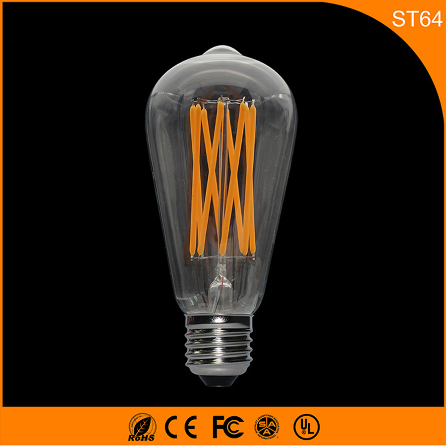 50PCS 4W Retro Vintage Edison E27 B22 LED Bulb ,ST64 Led Filament Glass Light Lamp, Warm White Energy Saving Lamps Light AC220V 10ppcs e27 4w edison led filament light candle lamp energy saving bulb warm white