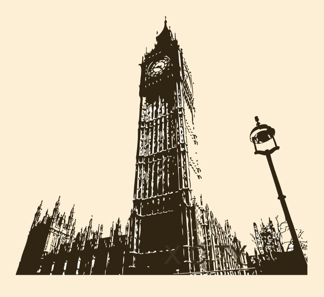 Retro big ben london england landmark uk vintage wall art decal sticker die cut vinyl stencil