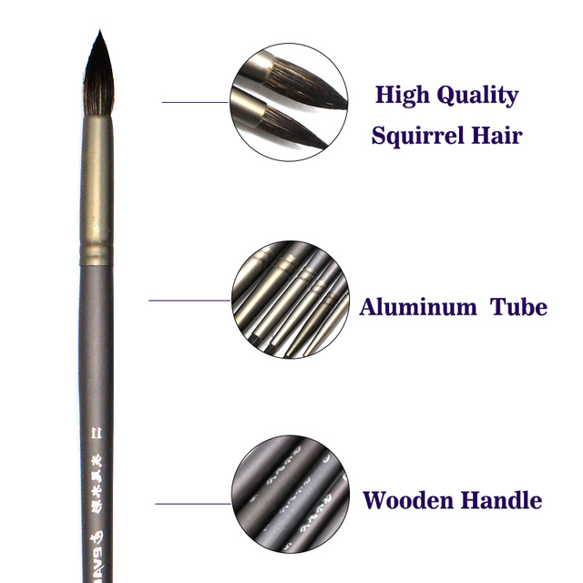 Set Of 6 Professional Quality Squirrel Hair Art Brushes Acrylic