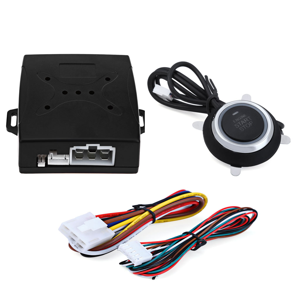 Universal Alarm Car Engine Push Starter Remote Control Button Starter DC 12V Car Keyless Entry Start Stop Immobilizer easyguard pke car alarm system remote engine start stop shock sensor push button start stop window rise up automatically