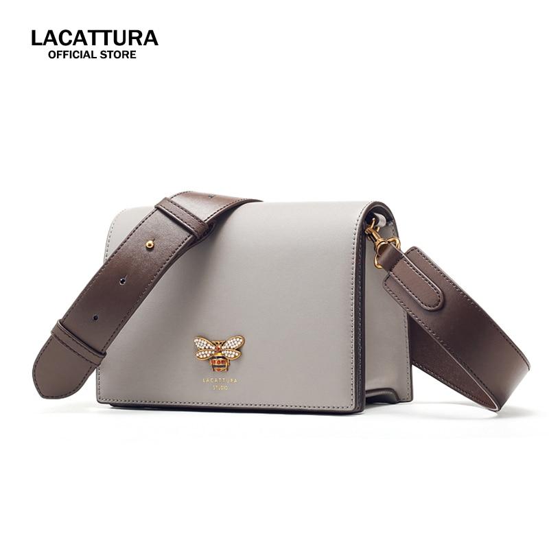 A1389 LACATTURA Women Leather Wide Shoulder Strap Messenger Bag Ladies Crossbody Bags Women Famous Brands Designers Shoulder Bag цены