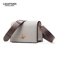 A1389 LACATTURA Women Leather Wide Shoulder Strap Messenger Bag Ladies Crossbody Bags Women Famous Brands Designers Shoulder Bag
