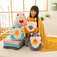 New 2 in 1 Hamster Air Conditioning Quilt & Blanket for baby 160cm * 110cm coral fleece blanket and car bolster & cushion