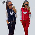 2016 New Autumn Women Tracksuit Loose Hooded Pants Set Women Love Heart Pattern Tracksuits Female 2 piece set RS011