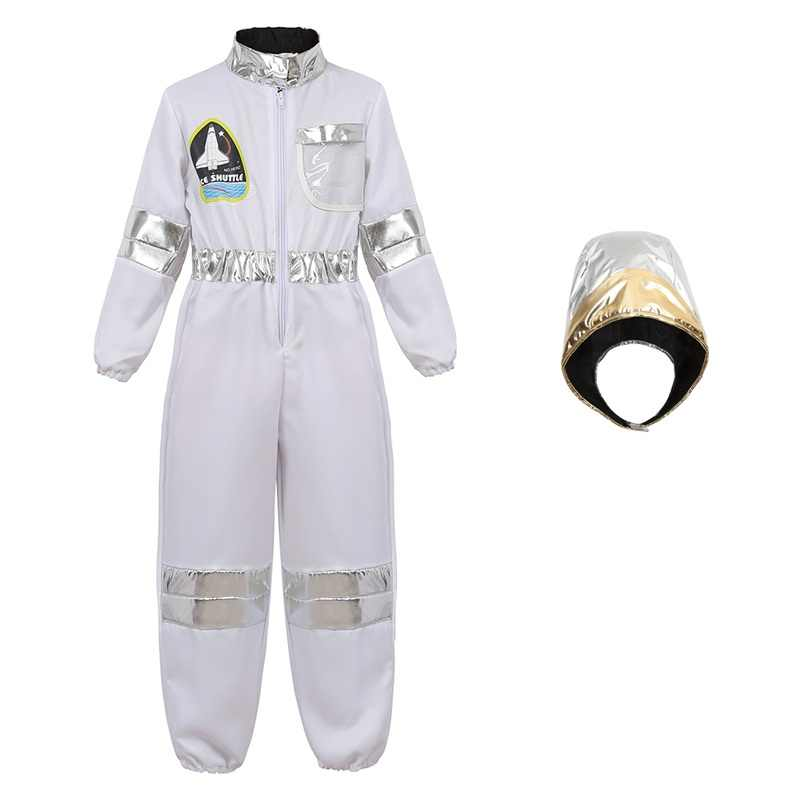 เครื่องแต่งกายสำหรับเด็กบทบาทเล่นเด็กวัยรุ่นเด็กวัยหัดเดินเด็กนักบินอวกาศ Jumpsuit ชุดอวกาศ Hoodie คอสเพลย์ฮาโลวีน