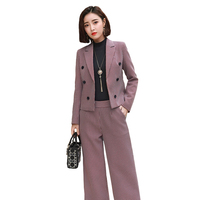 Red Grid Tall Waist Wide legged Pants Ripe Female Charm Suit Autumn Winter Long Sleeve Suit Women Office Lady Sets