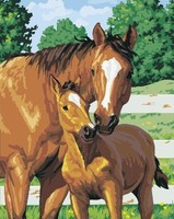 Mother And Child Horse Diy Oil On Canvas Paintings By Numbers Home Decor Wall Art Decorative