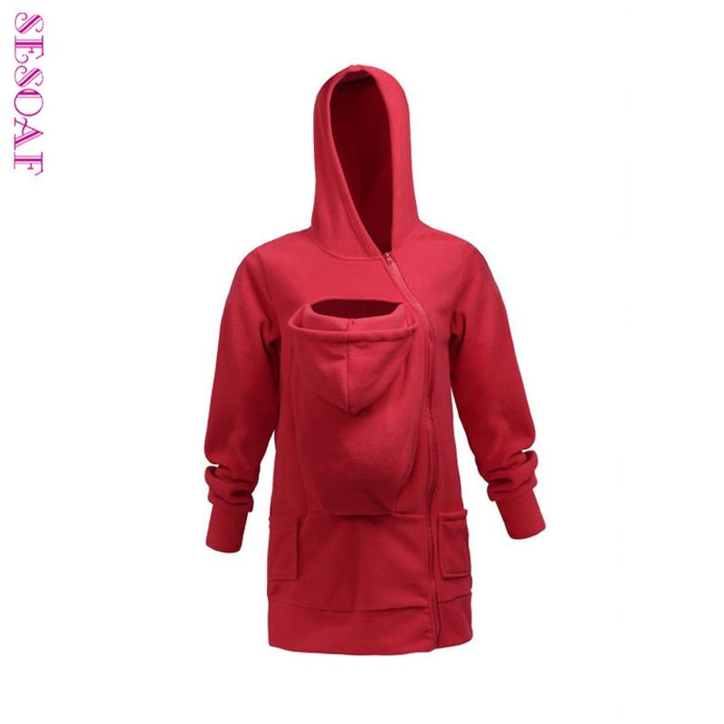 SESOAF बेबी कैरी करने वाली जैकेट हूडि कंगारू कोट और जैकेट के लिए मॉम बेबी पहने हुडी प्लस साइज