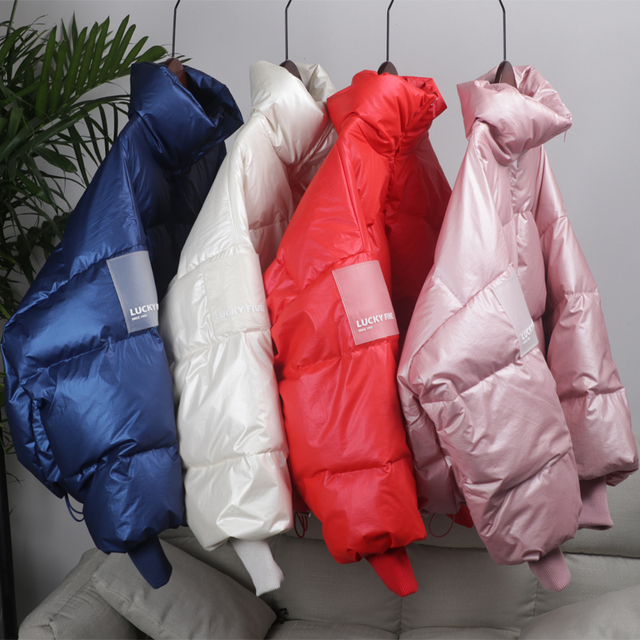 2019 Female Glossy Down Parka Winter Jacket Women Large Sizes Thick Down Jacket Loose White Duck Down Coat Waterproof Outerwear 4