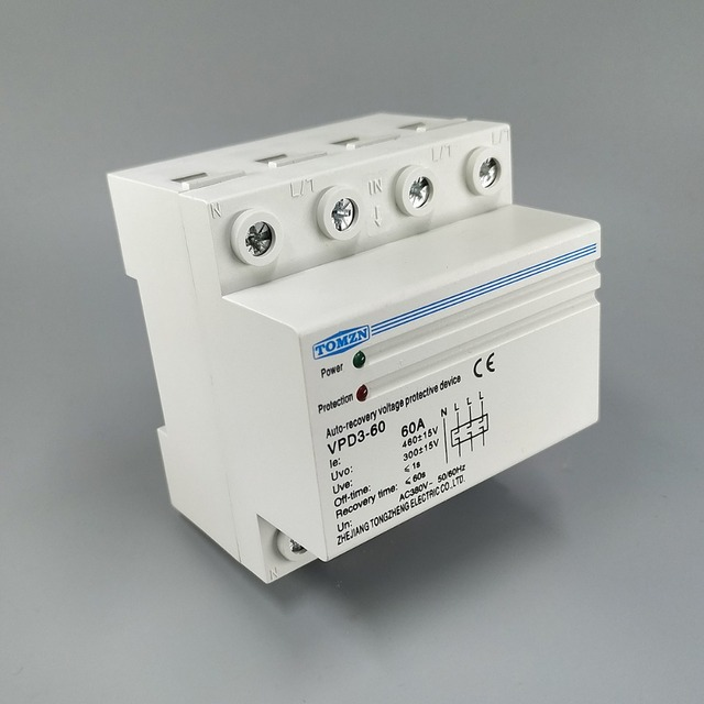 60A 380V~ Three Phase four wire Din rail automatic recovery reconnect over voltage and under voltage protective protection relay