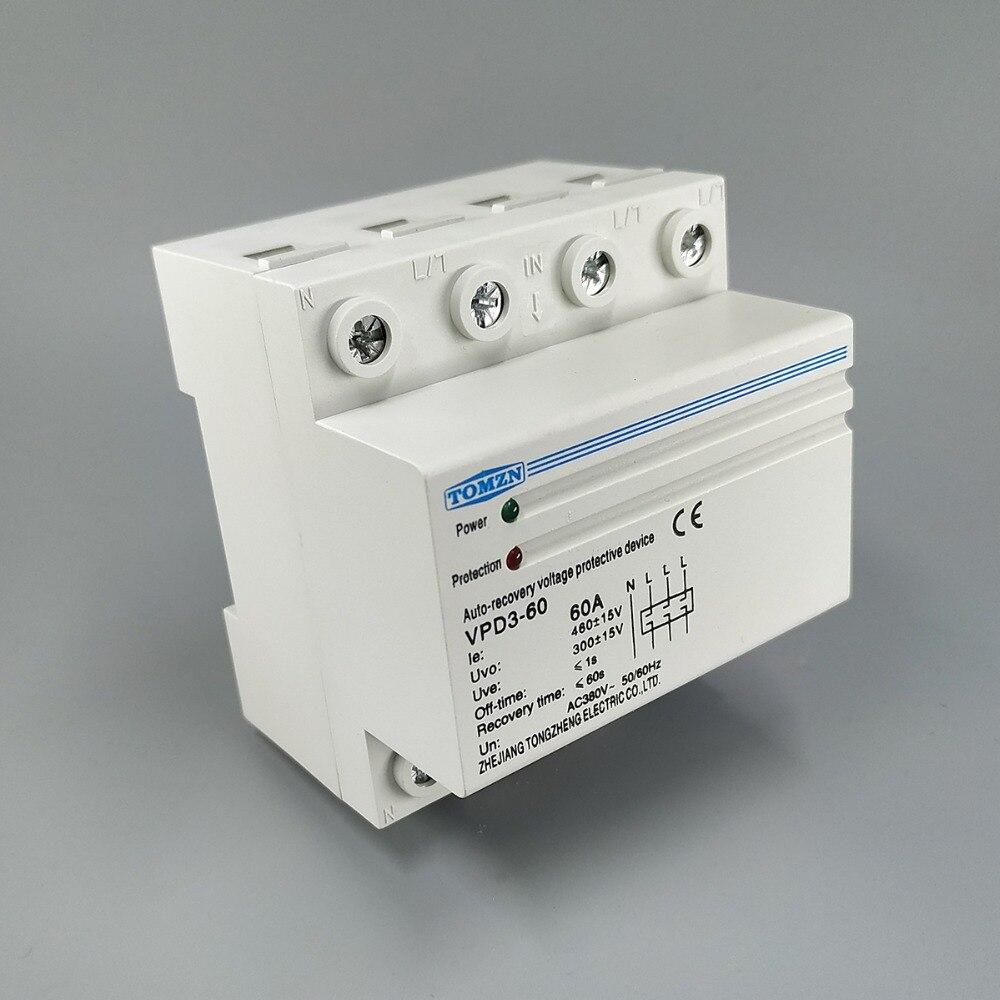 60A 380V ~ triphasé quatre fils Din rail reprise automatique reconnexion sur tension et sous tension relais de protection