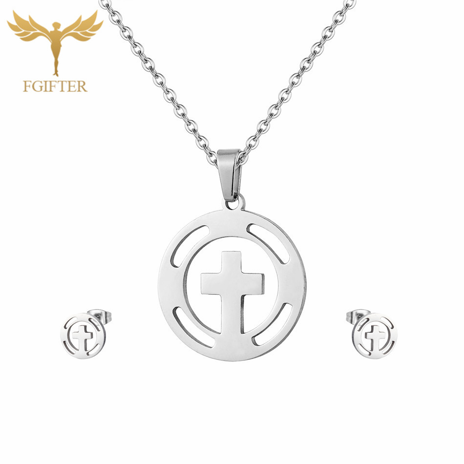 Chic Simple Style Cross Pendant Necklace With A Pair Earrings Fashion Jewelry Set Stainless Steel Set Jewelry
