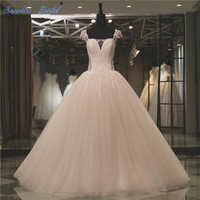 Vestido De Noiva 2018 Spring New Short Sleeve Ball Gown Wedding Dress Inspired Square Neck Lace