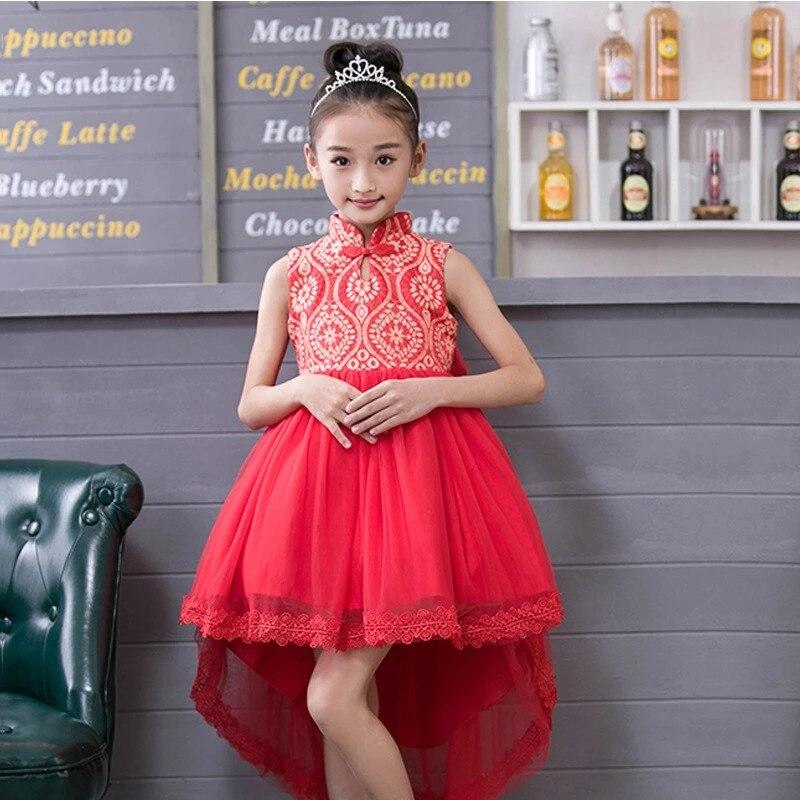 Summer Flower Girl Wedding Dresses Chinese Style Sleeveless Trailing Dress  for Children Kids Formal Christening Party Tutu Dress-in Dresses from Mother  ... 36bfec428958