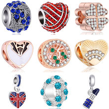 Fresh Style Alloy Bear Fish Car Panda Lipstick House Hearts Enamel Beads Fit Pandora Charms Bracelets DIY Trinket for Women Gift(China)