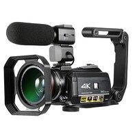 Цифровая видеокамера 4 K UHD 24MP видеокамера 3,0 ЖК дисплей с 1 шт. батареями + 0.39X объектив + микрофон + бленда для объектива