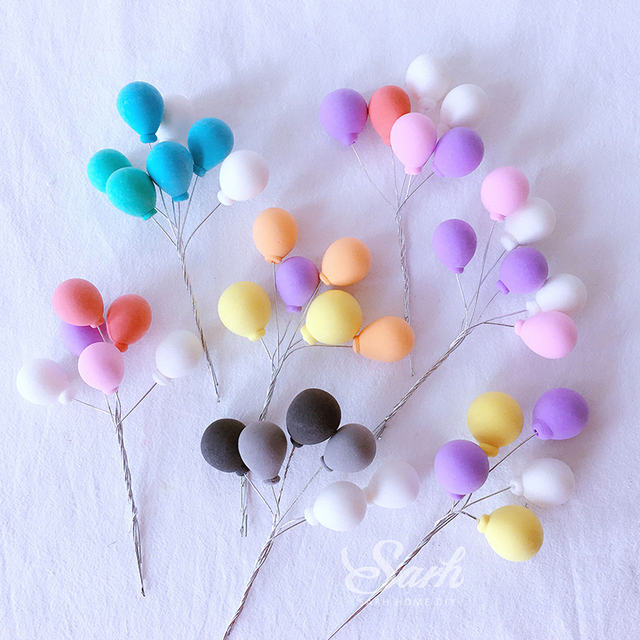 3Pcs สีดำสีขาวสีชมพูสีฟ้าสีส้มสีม่วงคอลเลกชันบอลลูนเค้ก Topper สำหรับตกแต่งปาร์ตี้ขนมหวานน่ารักของขวัญ