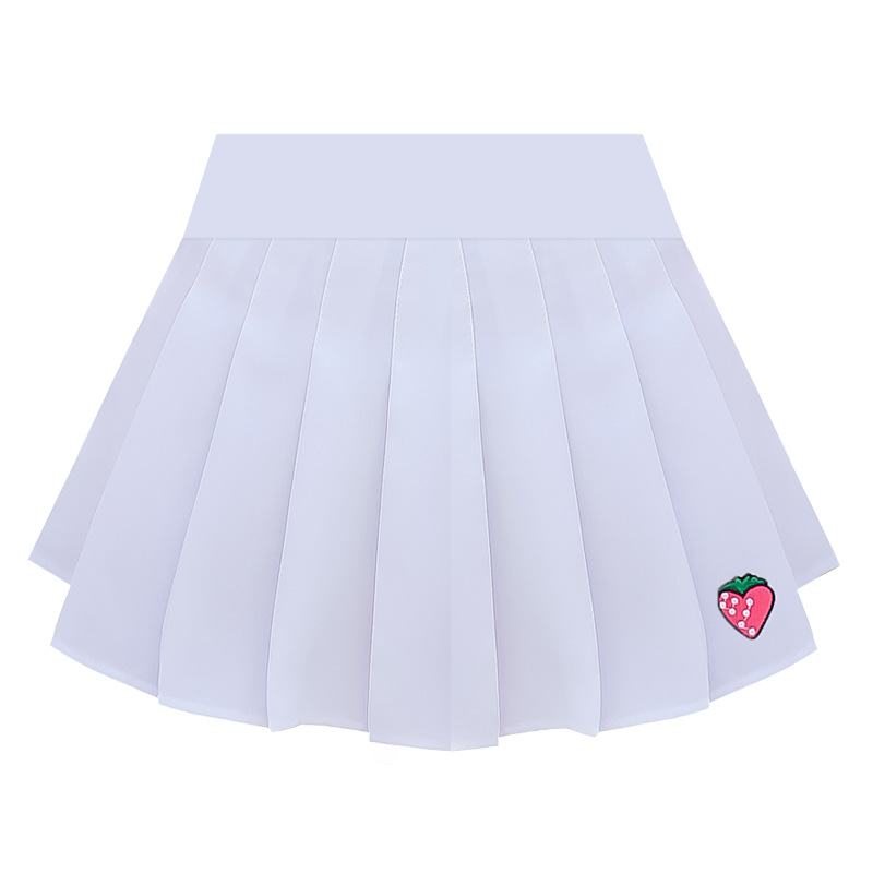 2019 Summer Kawaii Strawberry Embroidery Pleated Skirts Women Korean Ulzzang Mini Skirt Schoolgirl Streetwear Skirts in Skirts from Women 39 s Clothing
