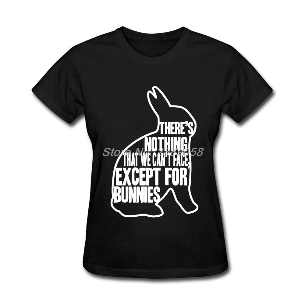 T shirt black and white designs - New Arrival Women Custom Design T Shirts Funny Bunnies Graphic Tshirt Cute Animal White Short Sleeve