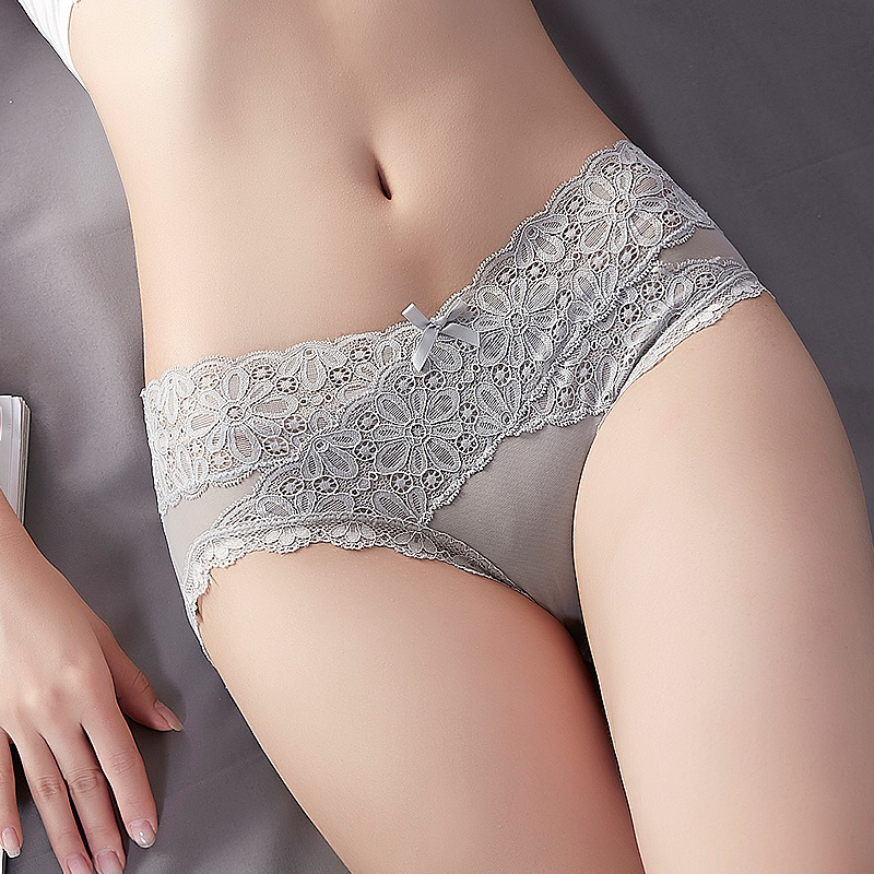 New V Style Mid-Rise Lace Bow Floral   Panties   Women Sexy Lingerie Breathable Solid Briefs Underwear Seamless Shorts