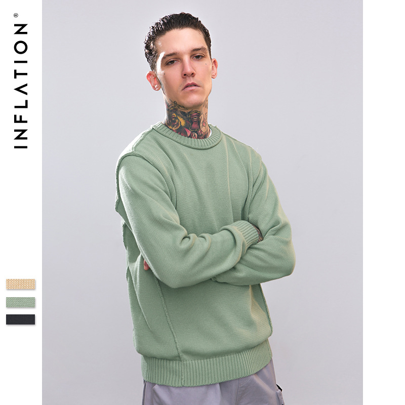 Mens Sweaters 2018 Pullovers O-neck Men Coarse Wool Sweater Men Clothes Mens Casual Loose Solid Men Winter Clothes Spliced Tops