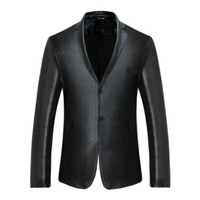 New fashion men's European and American style nightclub dark tattoo suit men's solid color single row two buckle small suit