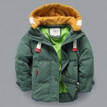 В возрасте 2-10 детей верхняя одежда мальчик пальто 2015 зима новый мальчик Белая утка Дети Вниз теплая куртка С съемный рукава