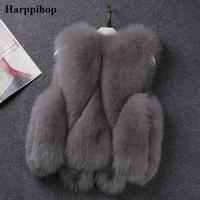 Harppihop Real Fox fur vest luxury Natural Fox fur Gilet Winter Warm waistcoat Lady Fashion Real Fox Fur Vest V115 1