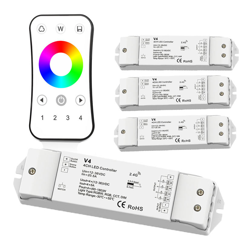 New Led rgbw Strip controller 2.4G RF Remote Wireless 12V Led strip rgbw controller R8-1 4 zone control with V4 4CH*5A Receiver mi light wifi controller 4x led controller rgbw 2 4g 4 zone rf wireless touching remote control for 5050 3528 led strip