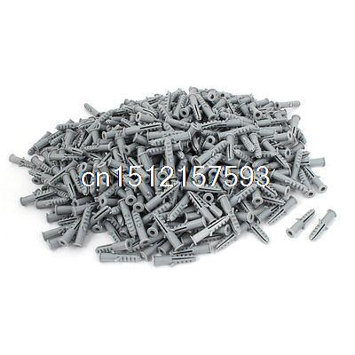 1000 Pcs Plastic Anti-rotation Wall Mounted Expansion Nail Plug Gray 5mm x 25mm plastic insulation nail wall expansion bolt anchor size 10 cm wall insulation sleeve $ 0 12 2500 bagging