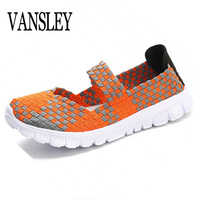 2017 Fashion Womens Weave Shoes Spring Autumn Mixed Color Checkered Breathable Casual Manual Shoes Loafers Tenis
