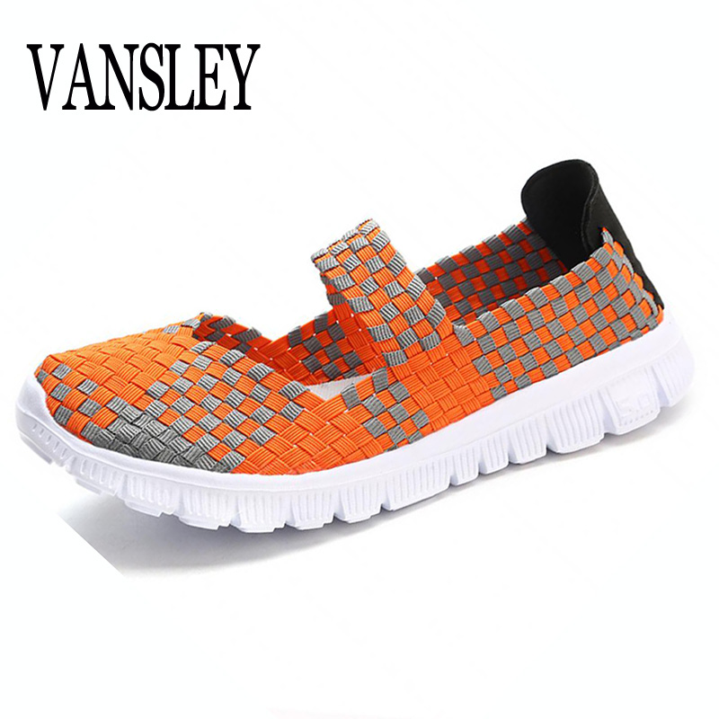 2018 Fashion Womens Weave Shoes Spring Autumn Mixed Color Checkered Breathable Casual Manual Shoes Loafers Tenis Feminino Sapato