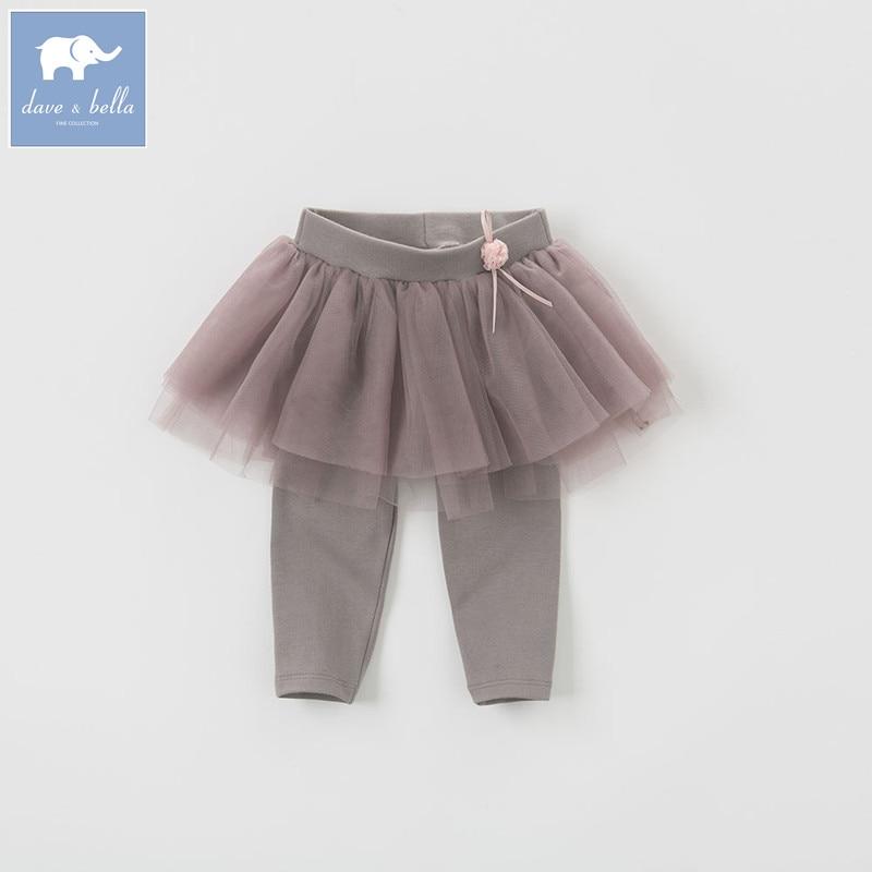 DB5510 dave bella spring summer baby pants kids trousers girls pants with ruffles tutu pants pants rebecca bella брюки с карманами