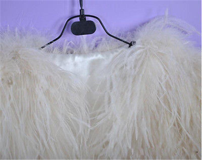 Luxurious Ostrich Feather Bridal Fur Shawl Marriage Shrug Coat Bride Winter Wedding Party Boleros Feather Wedding Cape (4)