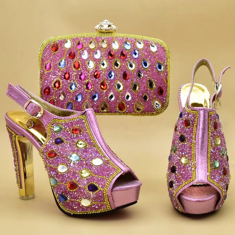 Juego Zapatos Africana púrpura Cielo Bolsas Diamantes Bolsos Imitación Decorado Calidad Con oro Y Italiano Azul Las Bolso rosado Mujeres Alta De azul rgxzwqr5