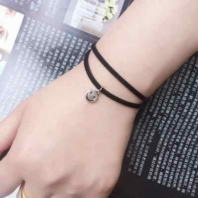 Cheap Creative Lace Bracelet Double layer Smiling face Bracelets & Bangles For Woman man Charms Jewelry accessroies B236