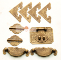 Antique Chinese Furniture Brass Hardware Chest Hinge Trunk Snap Catch Jewelry Box Handle Corners 9pcs
